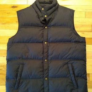 Lands End Men's Black Puffer Vest Large Down Fill